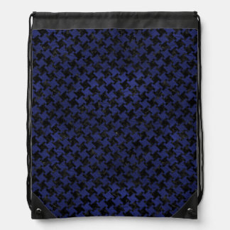 HOUNDSTOOTH2 BLACK MARBLE & BLUE LEATHER DRAWSTRING BAG