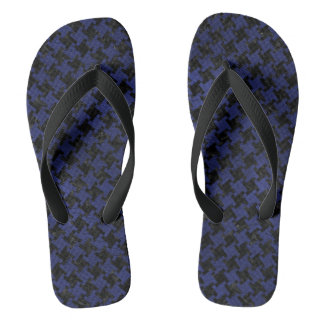 HOUNDSTOOTH2 BLACK MARBLE & BLUE LEATHER FLIP FLOPS