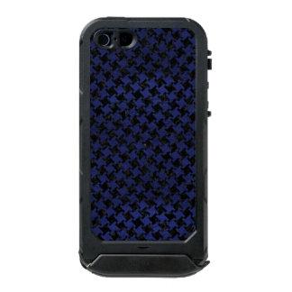 HOUNDSTOOTH2 BLACK MARBLE & BLUE LEATHER INCIPIO ATLAS ID™ iPhone 5 CASE