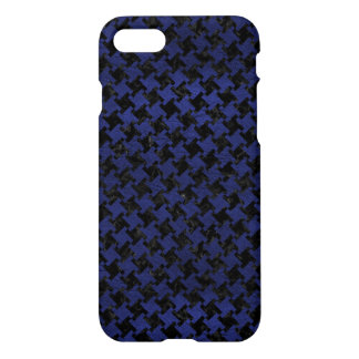HOUNDSTOOTH2 BLACK MARBLE & BLUE LEATHER iPhone 8/7 CASE