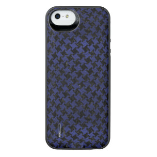 HOUNDSTOOTH2 BLACK MARBLE & BLUE LEATHER iPhone SE/5/5s BATTERY CASE