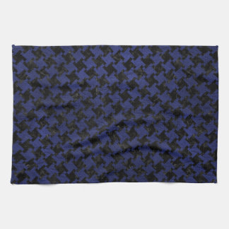 HOUNDSTOOTH2 BLACK MARBLE & BLUE LEATHER KITCHEN TOWEL