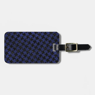 HOUNDSTOOTH2 BLACK MARBLE & BLUE LEATHER LUGGAGE TAG