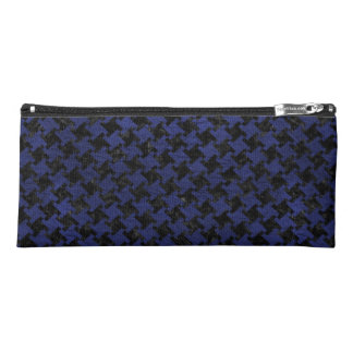 HOUNDSTOOTH2 BLACK MARBLE & BLUE LEATHER PENCIL CASE