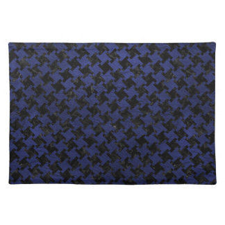 HOUNDSTOOTH2 BLACK MARBLE & BLUE LEATHER PLACEMAT