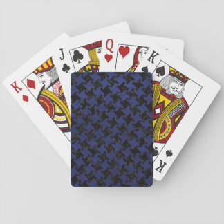 HOUNDSTOOTH2 BLACK MARBLE & BLUE LEATHER PLAYING CARDS
