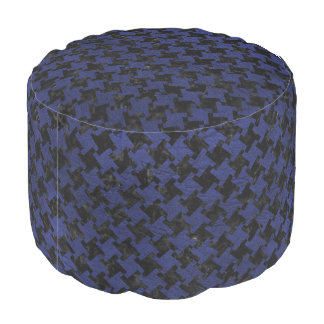 HOUNDSTOOTH2 BLACK MARBLE & BLUE LEATHER POUF