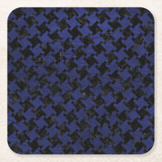 HOUNDSTOOTH2 BLACK MARBLE & BLUE LEATHER SQUARE PAPER COASTER