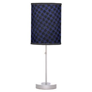 HOUNDSTOOTH2 BLACK MARBLE & BLUE LEATHER TABLE LAMP