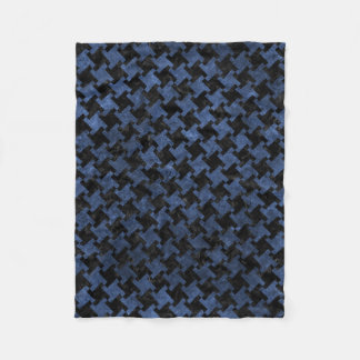 HOUNDSTOOTH2 BLACK MARBLE & BLUE STONE FLEECE BLANKET