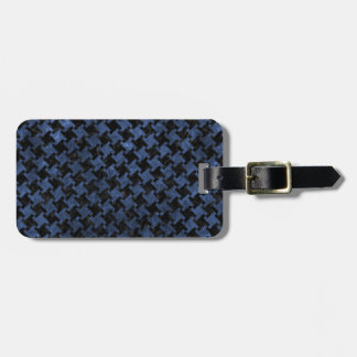 HOUNDSTOOTH2 BLACK MARBLE & BLUE STONE LUGGAGE TAG