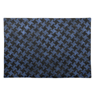 HOUNDSTOOTH2 BLACK MARBLE & BLUE STONE PLACEMAT