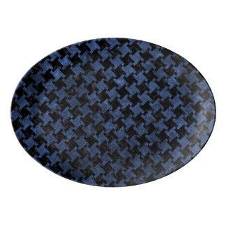 HOUNDSTOOTH2 BLACK MARBLE & BLUE STONE PORCELAIN SERVING PLATTER