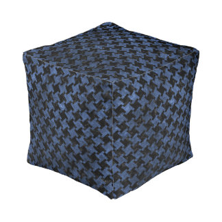 HOUNDSTOOTH2 BLACK MARBLE & BLUE STONE POUF