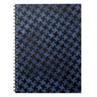 HOUNDSTOOTH2 BLACK MARBLE & BLUE STONE SPIRAL NOTEBOOK