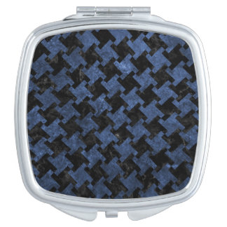 HOUNDSTOOTH2 BLACK MARBLE & BLUE STONE TRAVEL MIRRORS