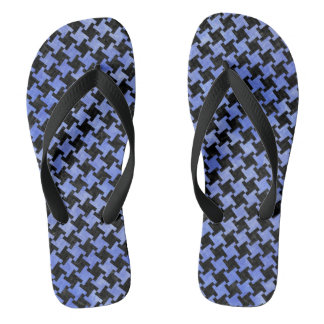 HOUNDSTOOTH2 BLACK MARBLE & BLUE WATERCOLOR FLIP FLOPS