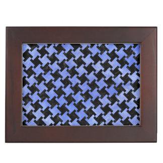 HOUNDSTOOTH2 BLACK MARBLE & BLUE WATERCOLOR KEEPSAKE BOX