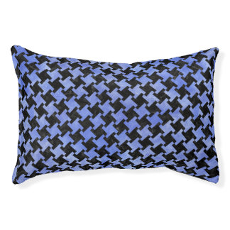 HOUNDSTOOTH2 BLACK MARBLE & BLUE WATERCOLOR PET BED