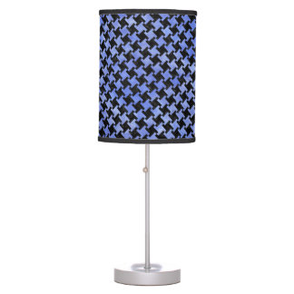 HOUNDSTOOTH2 BLACK MARBLE & BLUE WATERCOLOR TABLE LAMP