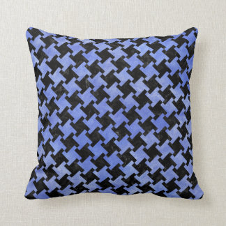 HOUNDSTOOTH2 BLACK MARBLE & BLUE WATERCOLOR THROW PILLOW