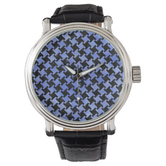 HOUNDSTOOTH2 BLACK MARBLE & BLUE WATERCOLOR WATCH