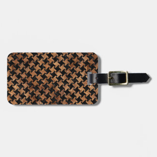 HOUNDSTOOTH2 BLACK MARBLE & BROWN STONE BAG TAG