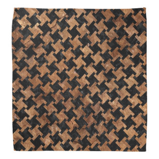 HOUNDSTOOTH2 BLACK MARBLE & BROWN STONE BANDANA
