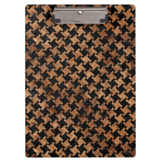 HOUNDSTOOTH2 BLACK MARBLE & BROWN STONE CLIPBOARD
