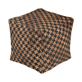 HOUNDSTOOTH2 BLACK MARBLE & BROWN STONE POUF