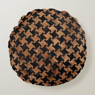 HOUNDSTOOTH2 BLACK MARBLE & BROWN STONE ROUND PILLOW
