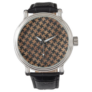HOUNDSTOOTH2 BLACK MARBLE & BROWN STONE WATCH