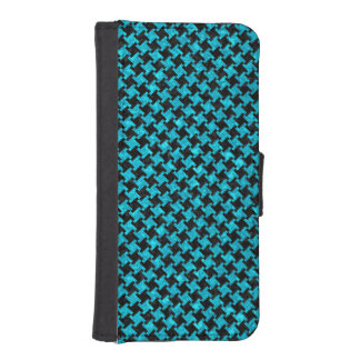 HOUNDSTOOTH2 BLACK MARBLE & TURQUOISE MARBLE iPhone SE/5/5s WALLET CASE