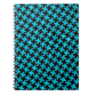 HOUNDSTOOTH2 BLACK MARBLE & TURQUOISE MARBLE NOTEBOOK