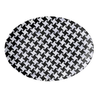 HOUNDSTOOTH2 BLACK MARBLE & WHITE MARBLE PORCELAIN SERVING PLATTER