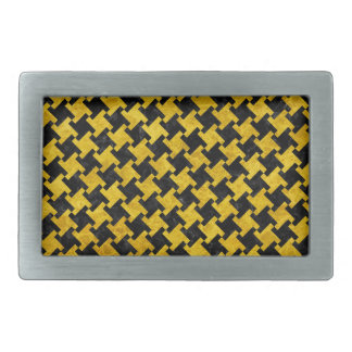 HOUNDSTOOTH2 BLACK MARBLE & YELLOW MARBLE BELT BUCKLE