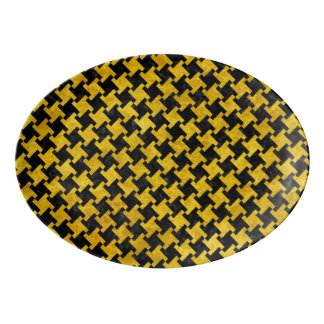 HOUNDSTOOTH2 BLACK MARBLE & YELLOW MARBLE PORCELAIN SERVING PLATTER
