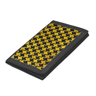 HOUNDSTOOTH2 BLACK MARBLE & YELLOW MARBLE TRIFOLD WALLET