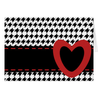 Houndstooth and Hearts Card