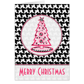 Houndstooth and Pink Christmas Tree Card