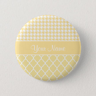 Houndstooth and Quatrefoil Yellow and White 2 Inch Round Button