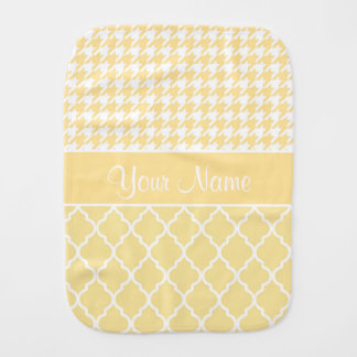 Houndstooth and Quatrefoil Yellow and White Burp Cloth