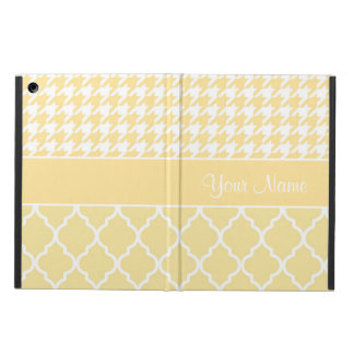 Houndstooth and Quatrefoil Yellow and White Case For iPad Air