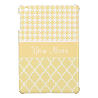 Houndstooth and Quatrefoil Yellow and White Case For The iPad Mini