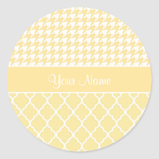 Houndstooth and Quatrefoil Yellow and White Classic Round Sticker