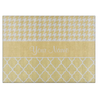 Houndstooth and Quatrefoil Yellow and White Cutting Board