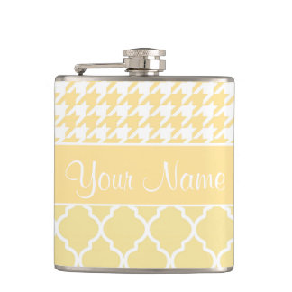 Houndstooth and Quatrefoil Yellow and White Hip Flask