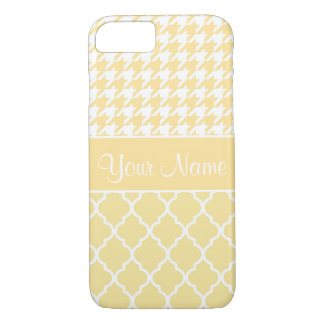 Houndstooth and Quatrefoil Yellow and White iPhone 7 Case