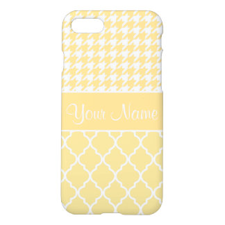 Houndstooth and Quatrefoil Yellow and White iPhone 8/7 Case