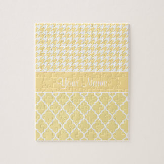 Houndstooth and Quatrefoil Yellow and White Jigsaw Puzzle